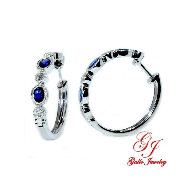 108067. White Gold Diamond And Sapphire Hoop Earrings