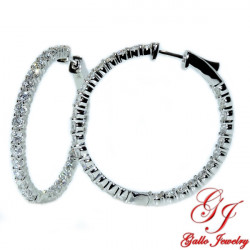 120110. White Gold Diamond Hoop Earrings- 4.00ct