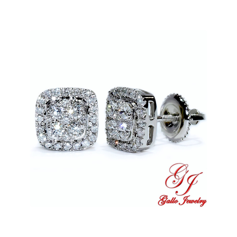 119206. White Gold Cushion Diamond Cluster Stud Earrings