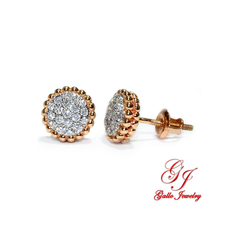 120644. Two-Tone Rose And White Gold Diamond Cluster Stud Earrings