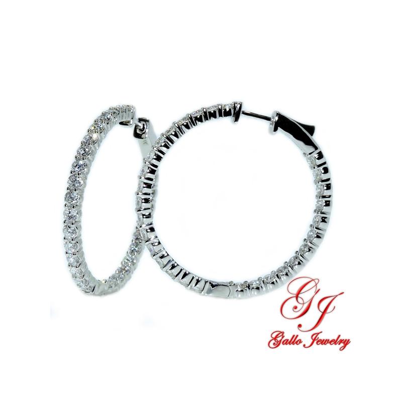 ER02159. White Gold Diamond Hoop Earrings- 2.00ct