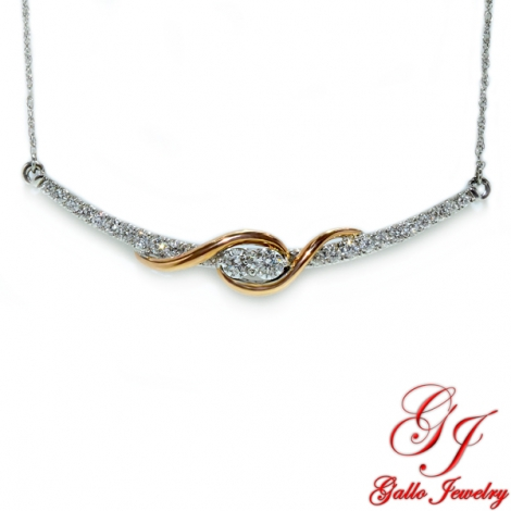 118310. Two-Tone White And Rose Gold Two Stone Bar Diamond Pendant Necklace