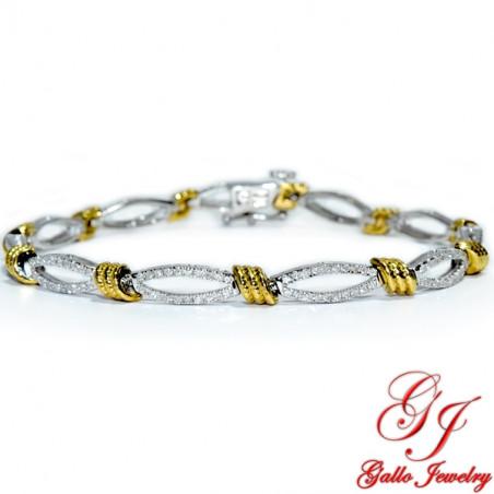 115989. Two-Tone White And Yellow Gold Diamond Bracelet
