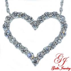PEN02317. White Gold Diamond Heart Pendant With Chain