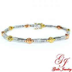 LB01366. Tri-Color Gold Woman's Diamond Bracelet - 0.95ct