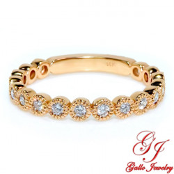 WB02227R. Rose Gold Diamond Bezel Set Woman's Wedding Ring