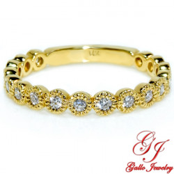 WB02227Y. Yellow Gold Diamond Bezel Set Woman's Wedding Ring