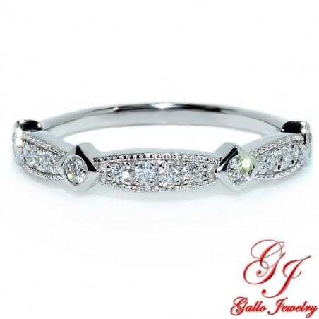 128290. White Gold Diamond Art Deco Design Wedding Ring