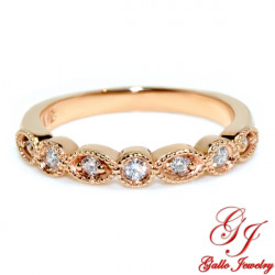 WB02365. Rose Gold Diamond Art Deco Wedding Ring