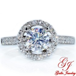 ENG00111. White Gold Diamond Halo Engagement Ring (Center Stone Sold Separately)