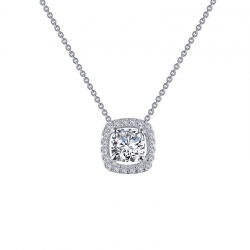 N0100CLP. Lafonn Sterling Silver Simulated Diamond Cushion Halo With A Chain