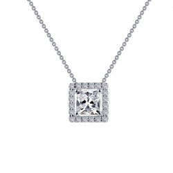 N0101CLP. Lafonn Sterling Silver Simulated Diamond Princess Halo With A Chain