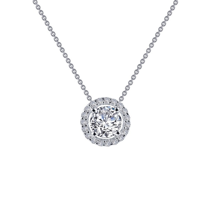 N0104CLP. Lafonn Sterling Silver Simulated Diamond Round Halo With A Chain