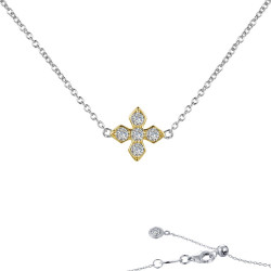 N0137CLT. Lafonn Sterling Silver Two-Tone Maltese Cross With Chain