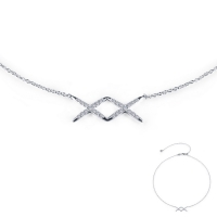 N0108CLP. Lafonn Sterling Silver Double X Simulated Diamond Necklace