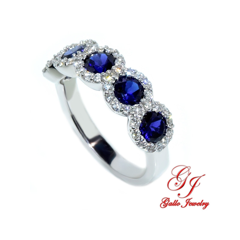 WB002647. White Gold Diamond and Sapphire Halo Ladies Ring