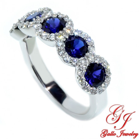 WB002703. White Gold Diamond and Sapphire Halo Ladies Ring