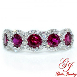 WB002645. White Gold Diamond and Ruby Halo Ladies Ring