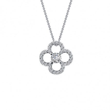 N0072CLP. Lafonn Sterling Silver Simulated Diamond Clover Necklace