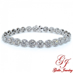 LB02594. Diamond Halo Tennis Bracelet - 5.85ct