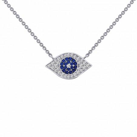 N0025CSP. Lafonn Sterling Silver Simulate Diamond Evil Eye Necklace