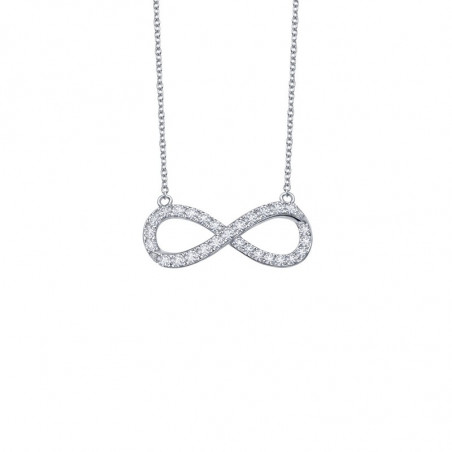 N0017CLP. Lafonn Sterling Silver Simulated Diamond Infinity Necklace