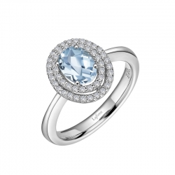 GR028BTP. Lafonn Sterling Silver Simulated Diamond and Blue Topaz Oval Halo Ring