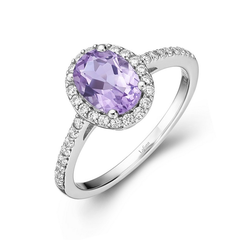 GR008AMP. Lafonn Sterling Silver Simulated Diamond And Amethyst Oval Halo Ring