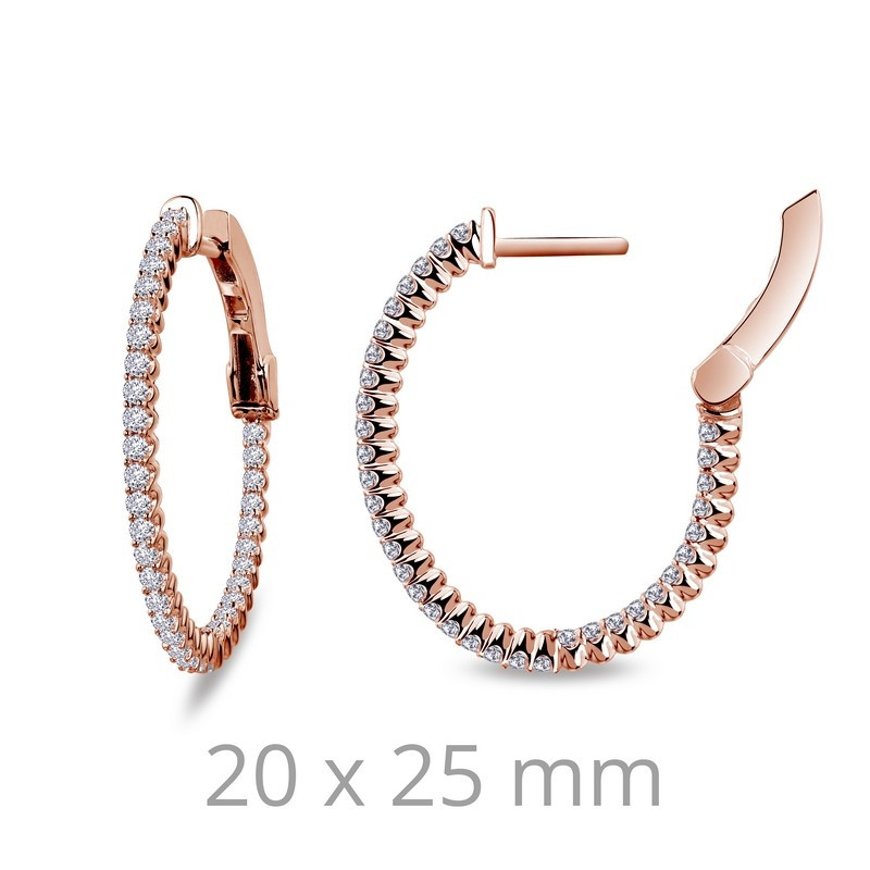 E3030CLR. Lafonn Sterling Silver Rose Gold Plated Simulated Diamond Inside Out Hoop Earrings