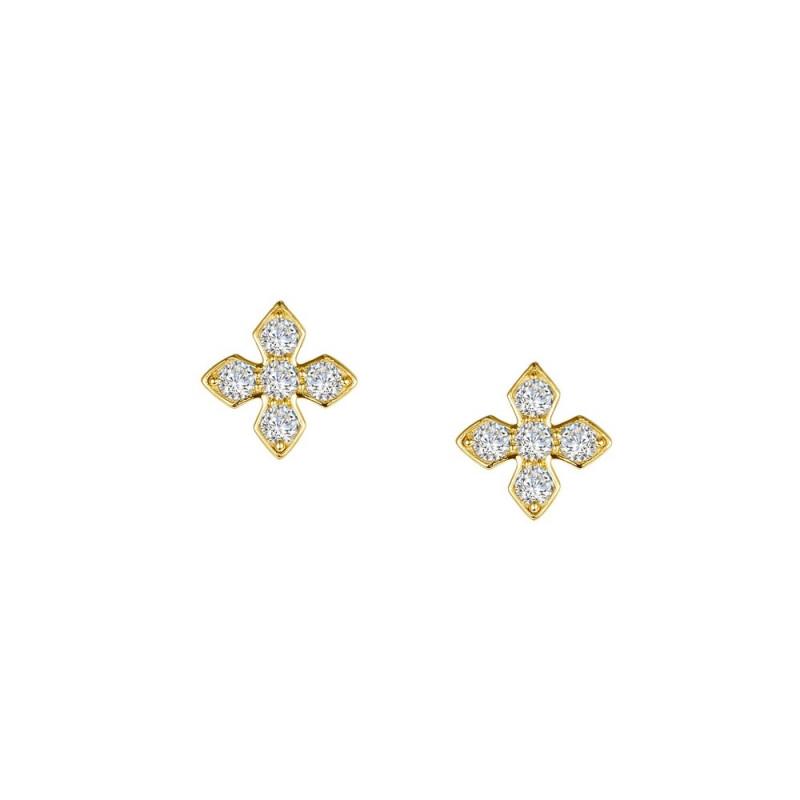E0375CLT. Lafonn Sterling Silver Two-Tone Maltese Cross Stud Earrings