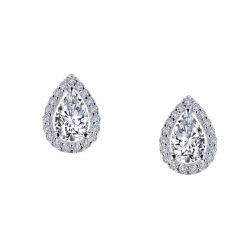 E0330CLP. Lafonn Sterling Silver Simulated Diamond Halo Pear-Shaped Stud Earrings