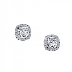 E0329CLP. Lafonn Sterling Silver Simulated Diamond Cushion Halo Stud Earrings