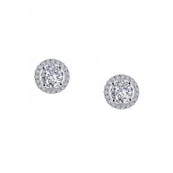 E0328CLP. Lafonn Sterling Silver Simulated Diamond Round Halo Stud Earrings