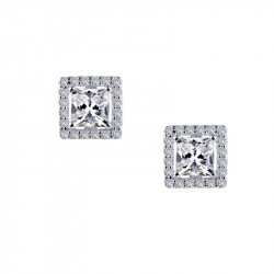 E0327CLP. Lafonn Sterling Silver Simulated Diamond Square Halo Stud Earrings