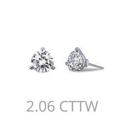 E0205CLP. Lafonn Sterling Silver Simulated Diamond Stud Earrings Martini Setting