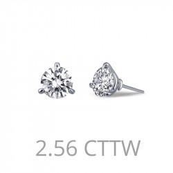 E0204CLP. Lafonn Sterling Silver Simulated Diamond Stud Earrings Martini Setting