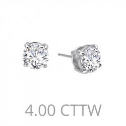 E0110CLP. Lafonn Sterling Silver Simulated Diamond Four Prong Stud Earrings