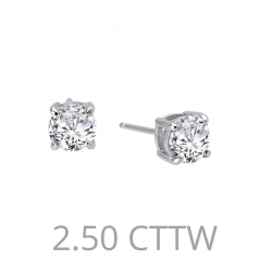 E0109CLP. Lafonn Sterling Silver Simulated Diamond Four Prong Stud Earrings
