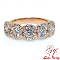 LR02705. Rose Gold Woman's Round Diamond Halo Ring