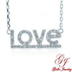 PEN02701. LOVE Diamond Pendant with Chain - White Gold