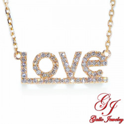 PEN02701. LOVE Diamond Pendant with Chain - Rose Gold