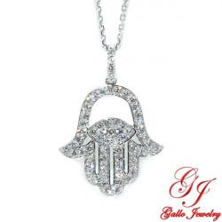 PEN02700. Woman's Diamond Hamsa Hand Pendant With Chain