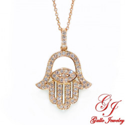PEN02700. Woman's Diamond Hamsa Hand Pendant With Chain