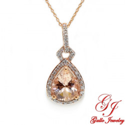 PEN02175. Diamond And Morganite Pear Shape Halo Pendant With Chain
