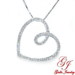 PEN02529. Women's Diamond Heart Pendant With Chain