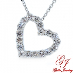 PEN02522. Women's Diamond Heart Pendant With Chain