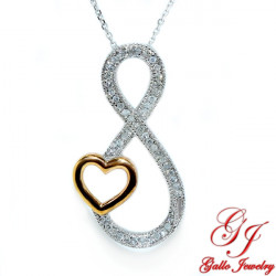 97729. Women's Diamond Infinity And Heart Pendant With Chain