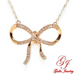 PEN02524. Women's Rose Gold Diamond Bow Pendant With Chain