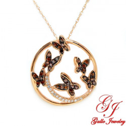 PEN02183. Women's Rose Gold Diamond Butterfly Pendant With Chain