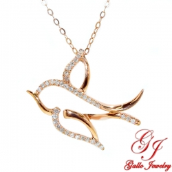 PEN02535. Women's Rose Gold Diamond Dove Pendant With Chain